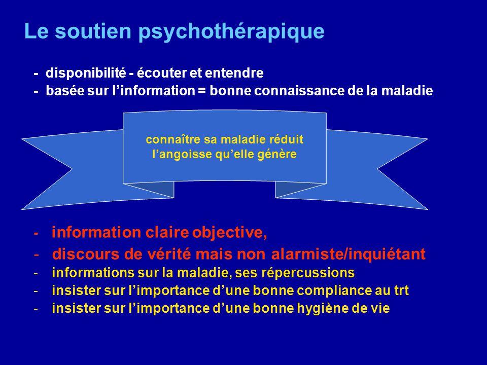 Le soutien psychothérapique - disponibilité - écouter et entendre - basée sur linformation = bonne connaissance de la maladie - information claire obj