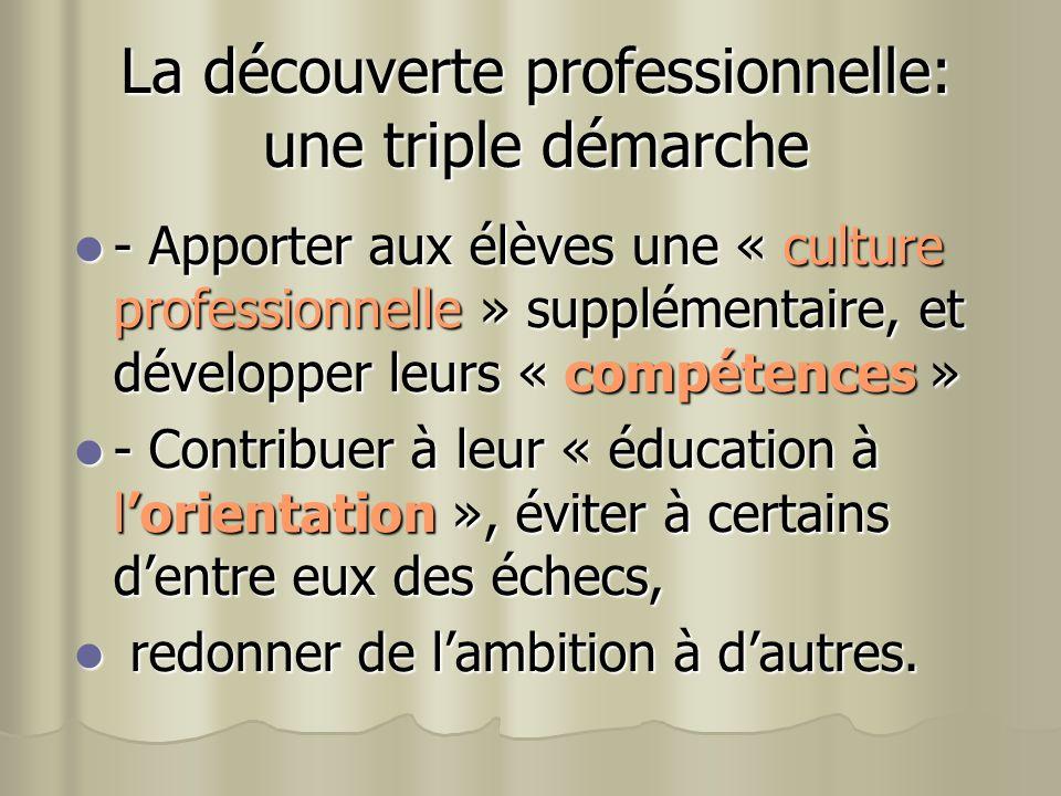 La découverte professionnelle: une triple démarche - Apporter aux élèves une « culture professionnelle » supplémentaire, et développer leurs « compéte