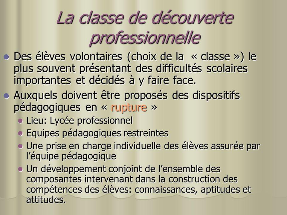 La classe de découverte professionnelle Des élèves volontaires (choix de la « classe ») le plus souvent présentant des difficultés scolaires important