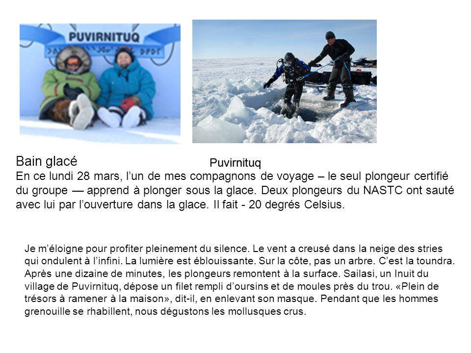 Bain glacé En ce lundi 28 mars, lun de mes compagnons de voyage – le seul plongeur certifié du groupe apprend à plonger sous la glace. Deux plongeurs