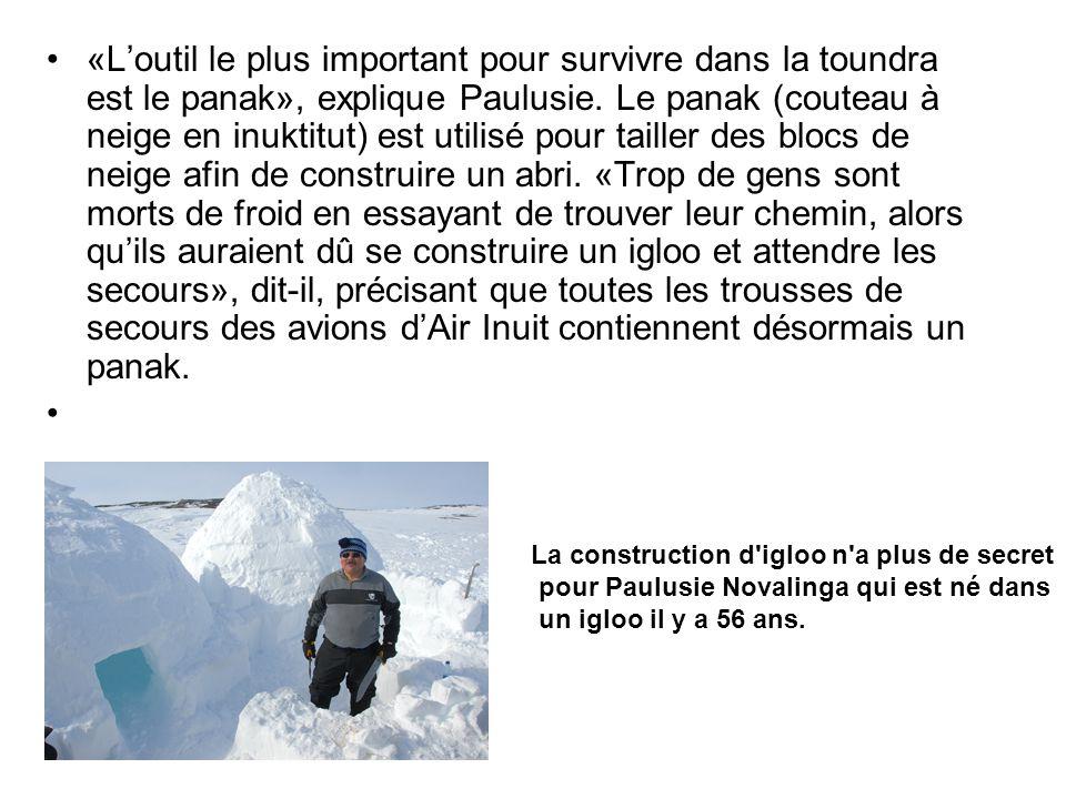 «Loutil le plus important pour survivre dans la toundra est le panak», explique Paulusie. Le panak (couteau à neige en inuktitut) est utilisé pour tai