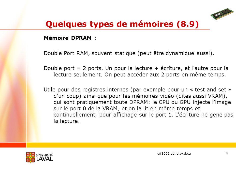gif3002.gel.ulaval.ca 4 Quelques types de mémoires (8.9) Mémoire DPRAM : Double Port RAM, souvent statique (peut être dynamique aussi). Double port =