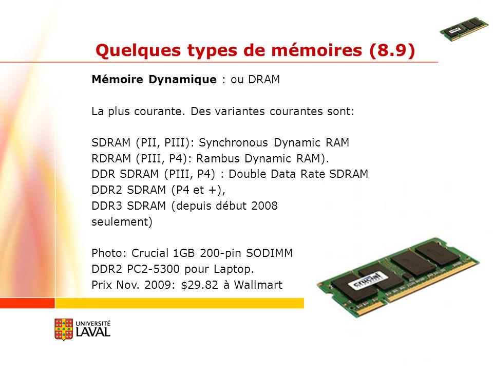 gif3002.gel.ulaval.ca 6 Quelques types de mémoires (8.9) Mémoire Dynamique : ou DRAM Si la DRAM avait besoin de 4, 5 ou 6 Mosfets par bit, la SRAM à besoin dun Mosfet + un condensateur.