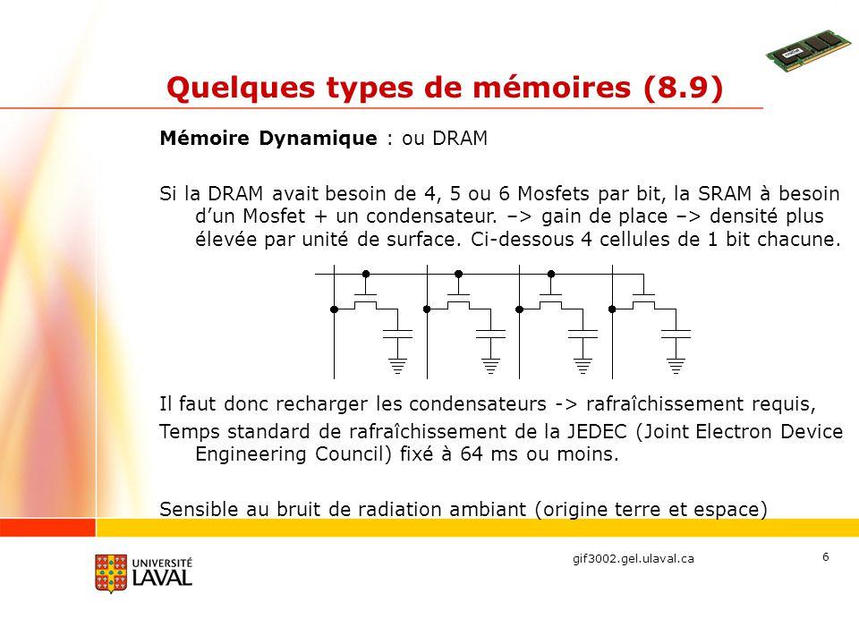 gif3002.gel.ulaval.ca 6 Quelques types de mémoires (8.9) Mémoire Dynamique : ou DRAM Si la DRAM avait besoin de 4, 5 ou 6 Mosfets par bit, la SRAM à b