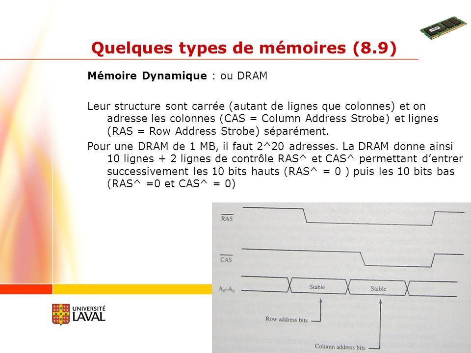 gif3002.gel.ulaval.ca 7 Quelques types de mémoires (8.9) Mémoire Dynamique : ou DRAM Leur structure sont carrée (autant de lignes que colonnes) et on
