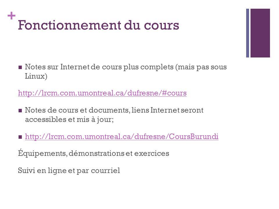 + Fonctionnement du cours Notes sur Internet de cours plus complets (mais pas sous Linux) http://lrcm.com.umontreal.ca/dufresne/#cours Notes de cours