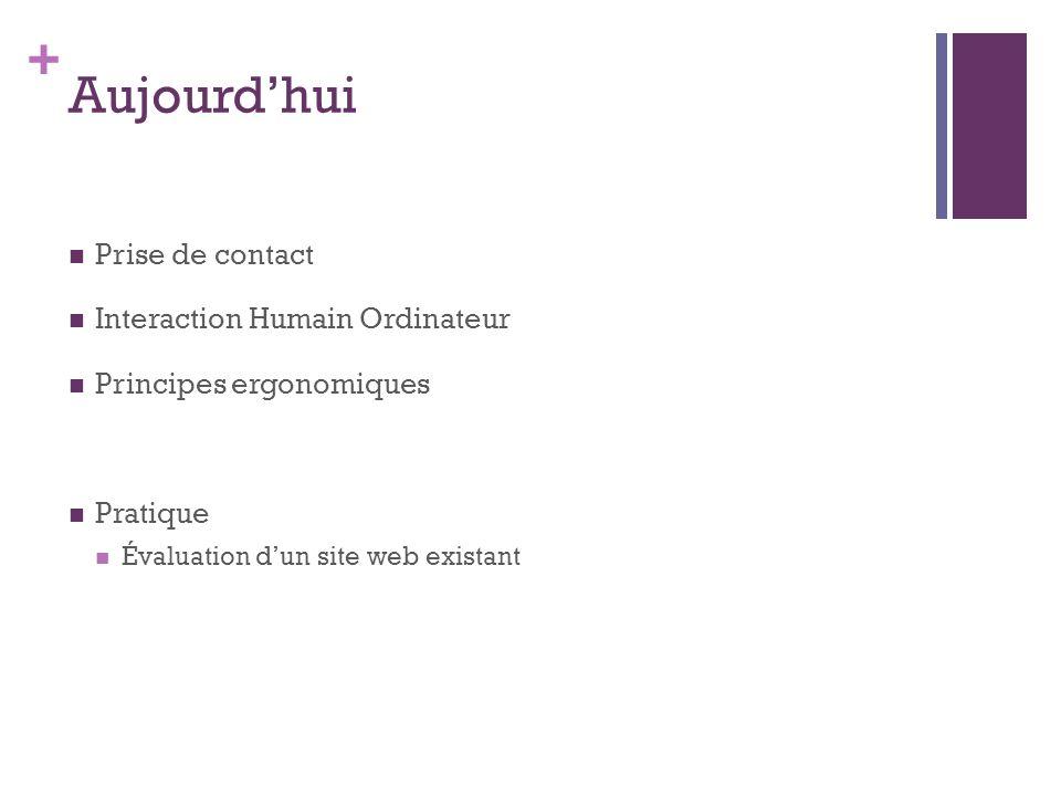 + Aujourdhui Prise de contact Interaction Humain Ordinateur Principes ergonomiques Pratique Évaluation dun site web existant