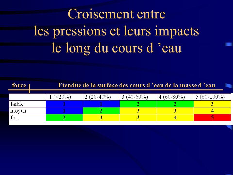 Croisement entre les pressions et leurs impacts le long du cours d eau Etendue de la surface des cours d eau de la masse d eauforce