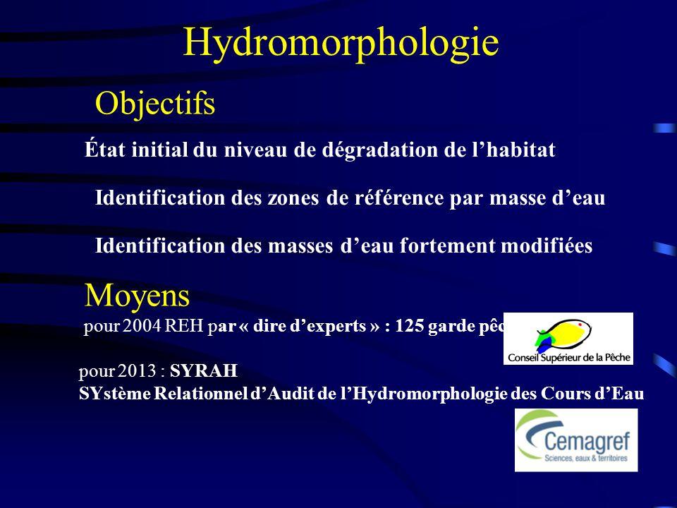Hydromorphologie État initial du niveau de dégradation de lhabitat Identification des zones de référence par masse deau Identification des masses deau