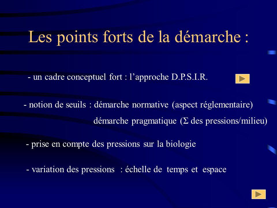 Les points forts de la démarche : - un cadre conceptuel fort : lapproche D.P.S.I.R. - notion de seuils : démarche normative (aspect réglementaire) - p