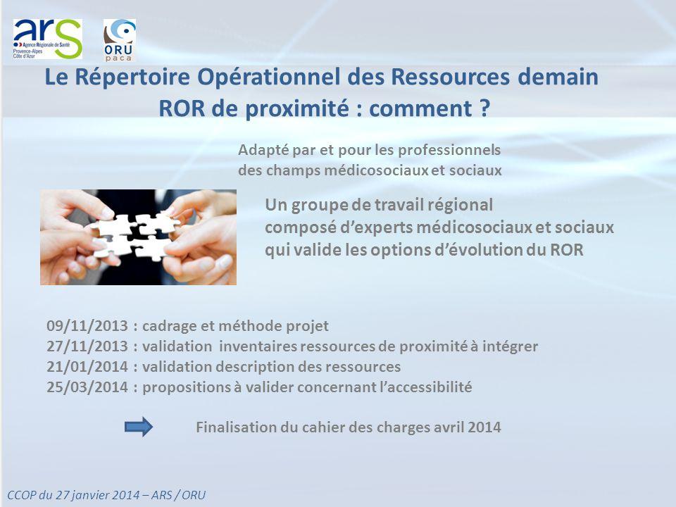 Le Répertoire Opérationnel des Ressources demain ROR de proximité : comment .