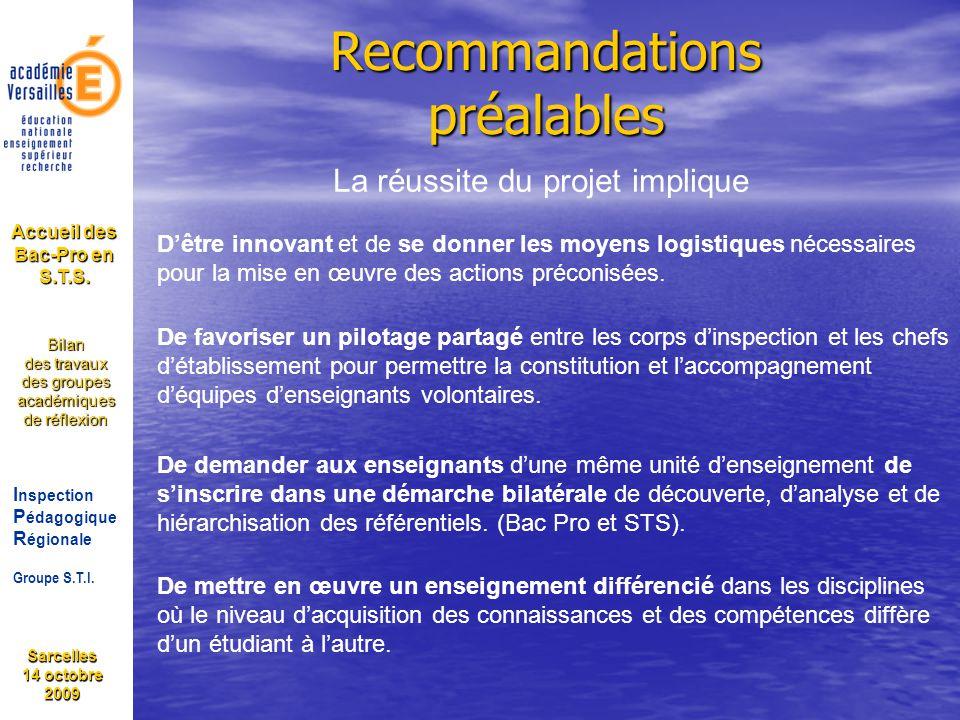 Sarcelles 14 octobre 2009 I nspection P édagogique R égionale Groupe S.T.I. Bilan des travaux des groupes académiques de réflexion Accueil des Bac-Pro