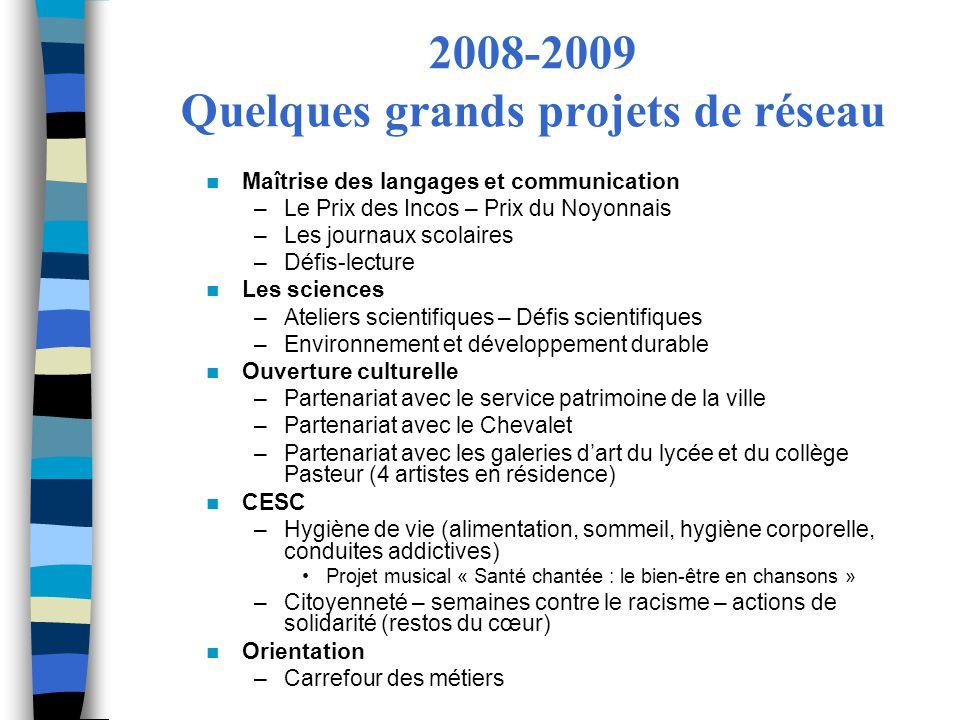2008-2009 Quelques grands projets de réseau Maîtrise des langages et communication –Le Prix des Incos – Prix du Noyonnais –Les journaux scolaires –Déf