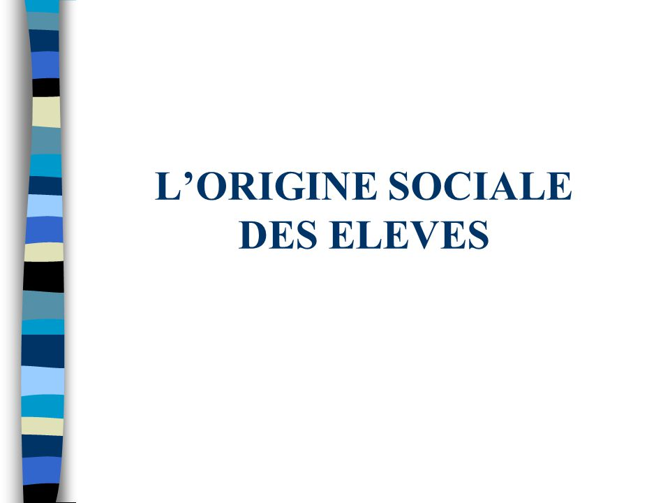 LORIGINE SOCIALE DES ELEVES