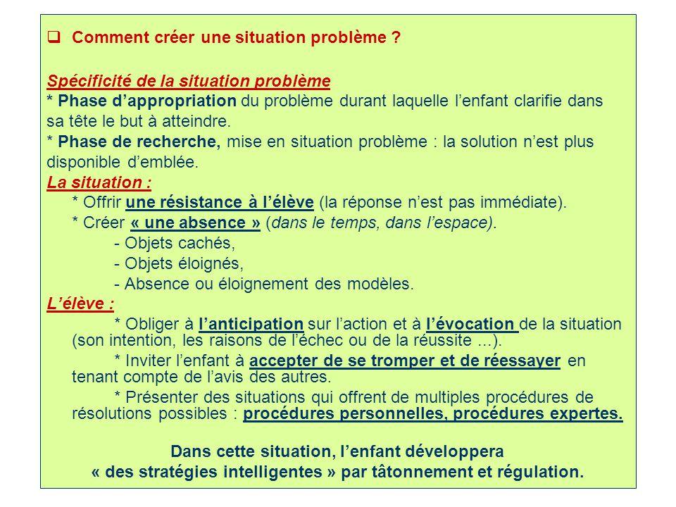 10 Comment créer une situation problème ? Spécificité de la situation problème * Phase dappropriation du problème durant laquelle lenfant clarifie dan