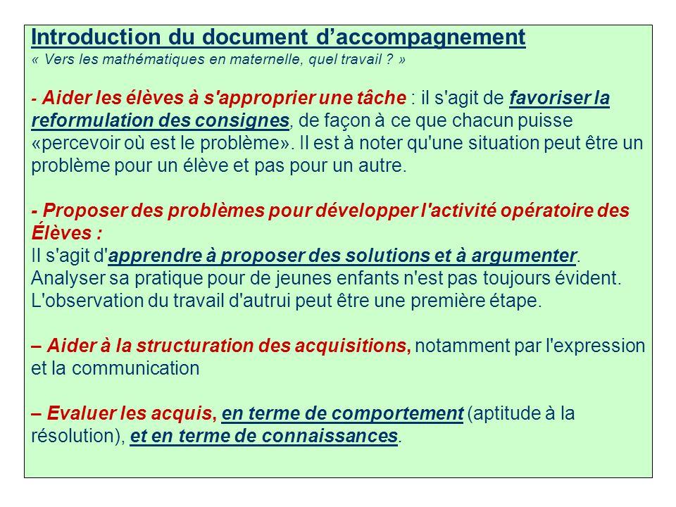 3 Introduction du document daccompagnement « Vers les mathématiques en maternelle, quel travail ? » - Aider les élèves à s'approprier une tâche : il s