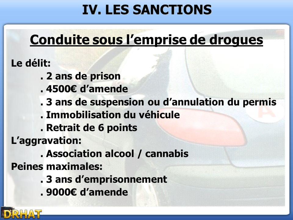 IV. LES SANCTIONS Conduite sous lemprise de drogues Le délit:. 2 ans de prison. 4500 damende. 3 ans de suspension ou dannulation du permis. Immobilisa