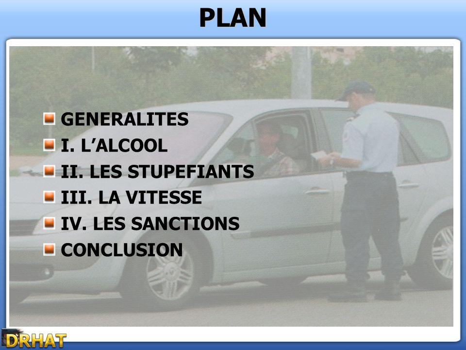 PLAN GENERALITES I. LALCOOL II. LES STUPEFIANTS III. LA VITESSE IV. LES SANCTIONS CONCLUSION