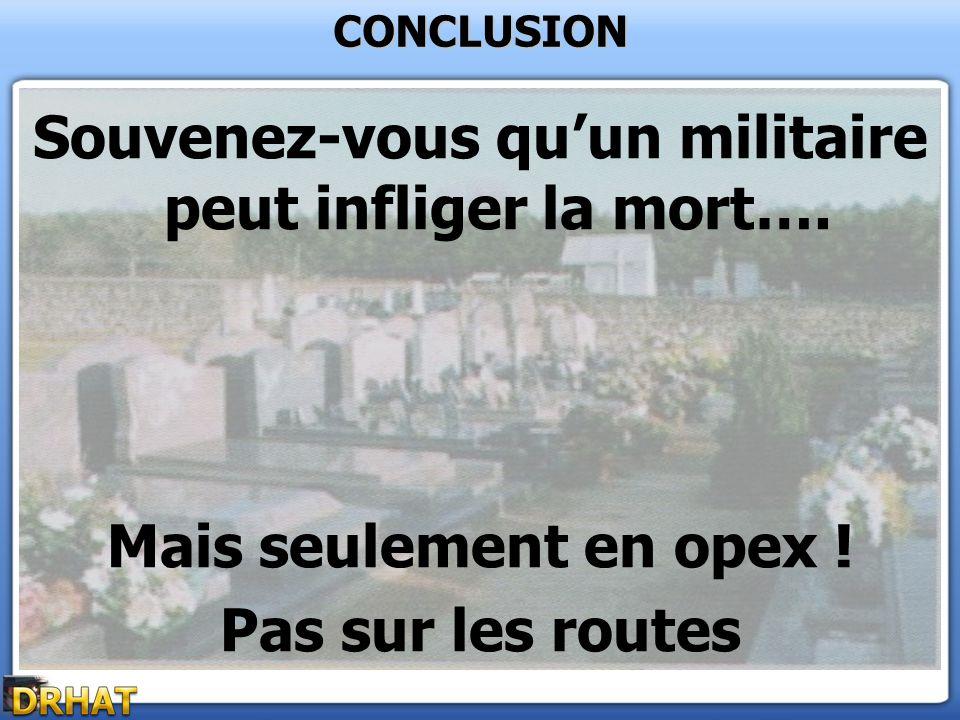 Souvenez-vous quun militaire peut infliger la mort…. Mais seulement en opex ! Pas sur les routes CONCLUSION