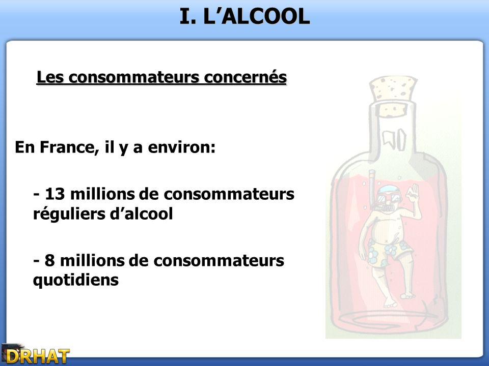 Les consommateurs concernés En France, il y a environ: - 13 millions de consommateurs réguliers dalcool - 8 millions de consommateurs quotidiens