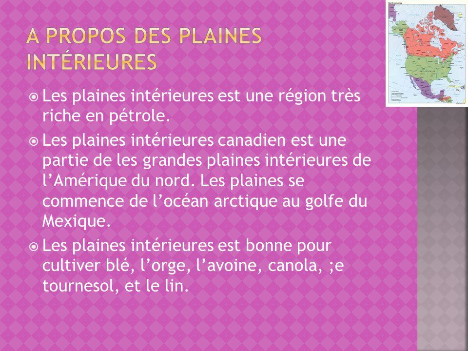 Les plaines intérieures est une région très riche en pétrole. Les plaines intérieures canadien est une partie de les grandes plaines intérieures de lA