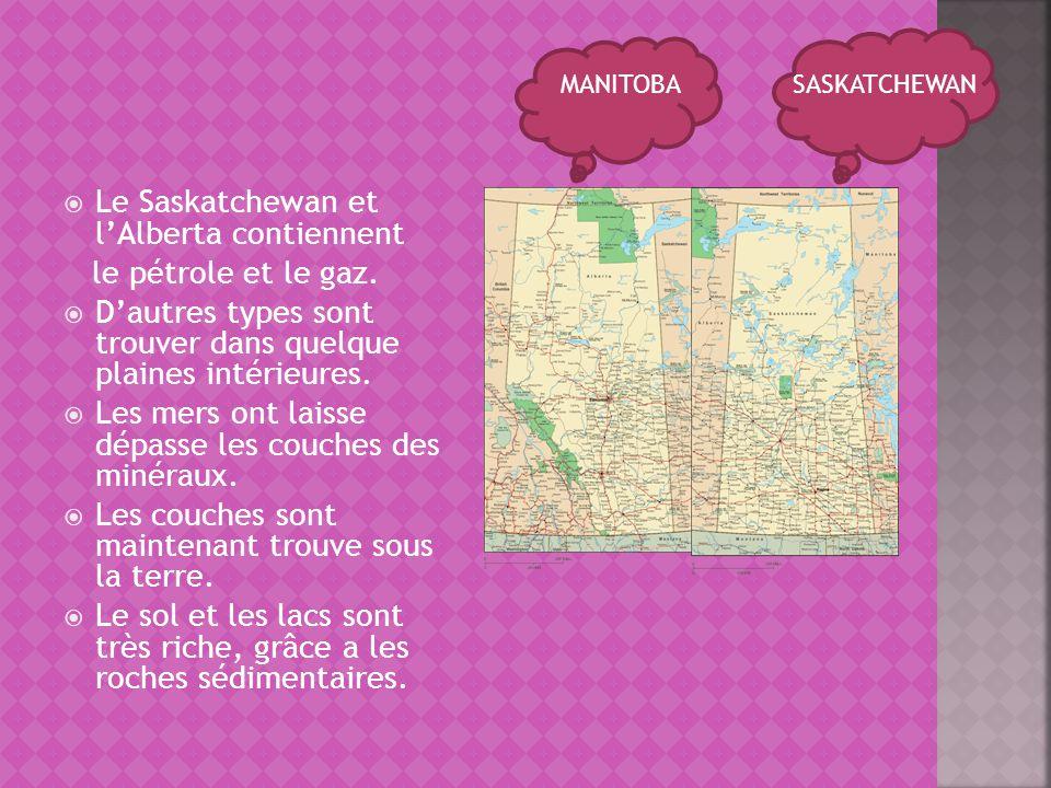 Le Saskatchewan et lAlberta contiennent le pétrole et le gaz. Dautres types sont trouver dans quelque plaines intérieures. Les mers ont laisse dépasse