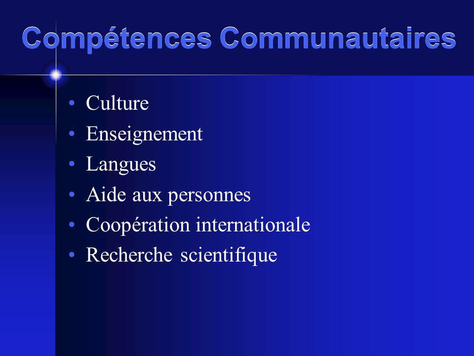 Compétences Communautaires Culture Enseignement Langues Aide aux personnes Coopération internationale Recherche scientifique