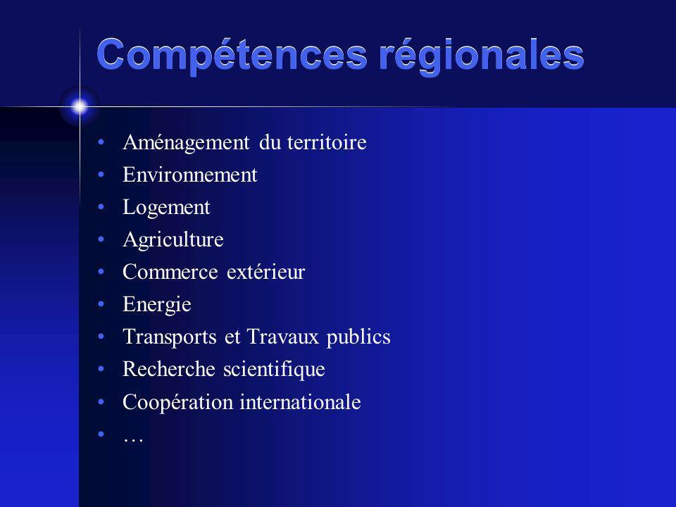 Compétences régionales Aménagement du territoire Environnement Logement Agriculture Commerce extérieur Energie Transports et Travaux publics Recherche scientifique Coopération internationale …
