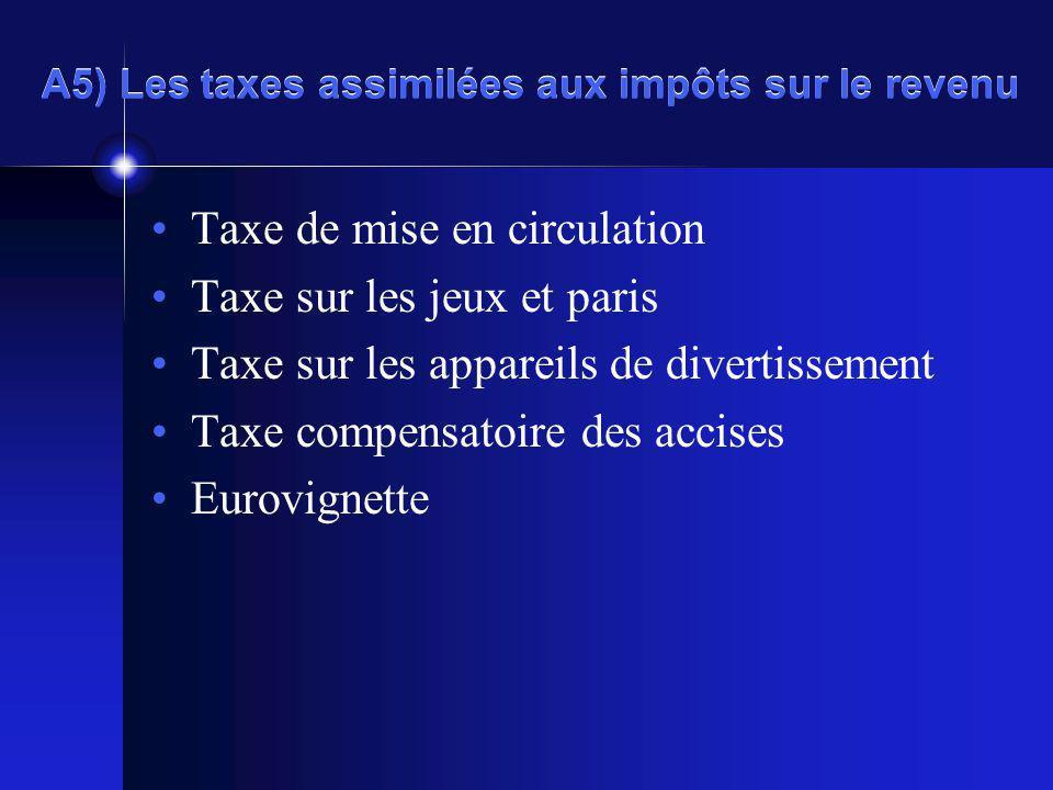 A5) Les taxes assimilées aux impôts sur le revenu Taxe de mise en circulation Taxe sur les jeux et paris Taxe sur les appareils de divertissement Taxe compensatoire des accises Eurovignette