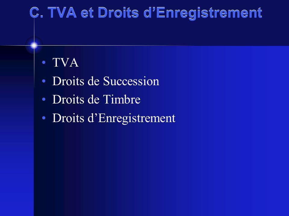 C. TVA et Droits dEnregistrement TVA Droits de Succession Droits de Timbre Droits dEnregistrement