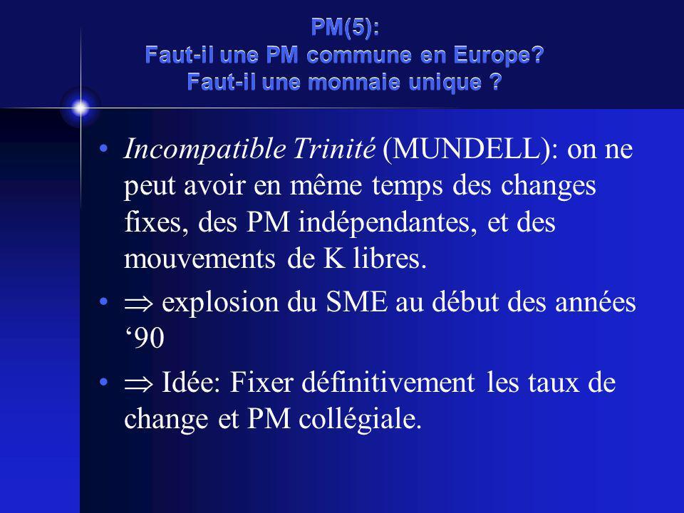 PM(5): Faut-il une PM commune en Europe. Faut-il une monnaie unique .