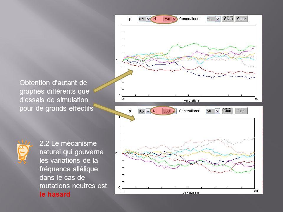 2.2 Le mécanisme naturel qui gouverne les variations de la fréquence allélique dans le cas de mutations neutres est le hasard Obtention dautant de gra