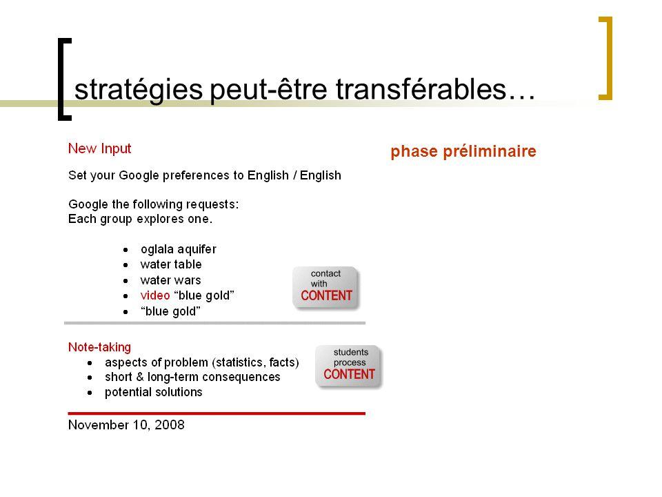 stratégies peut-être transférables… sujet transversal, CLV phase préliminaire