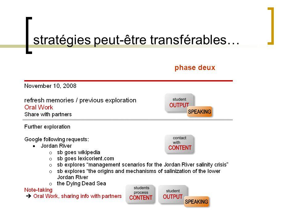 stratégies peut-être transférables… phase deux