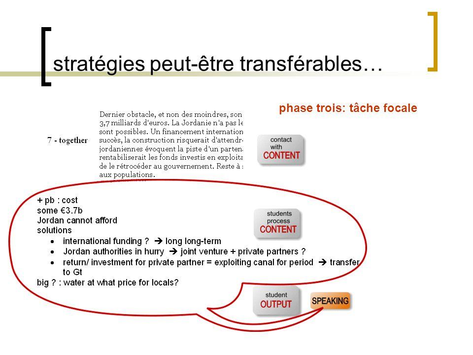 stratégies peut-être transférables… phase trois: tâche focale