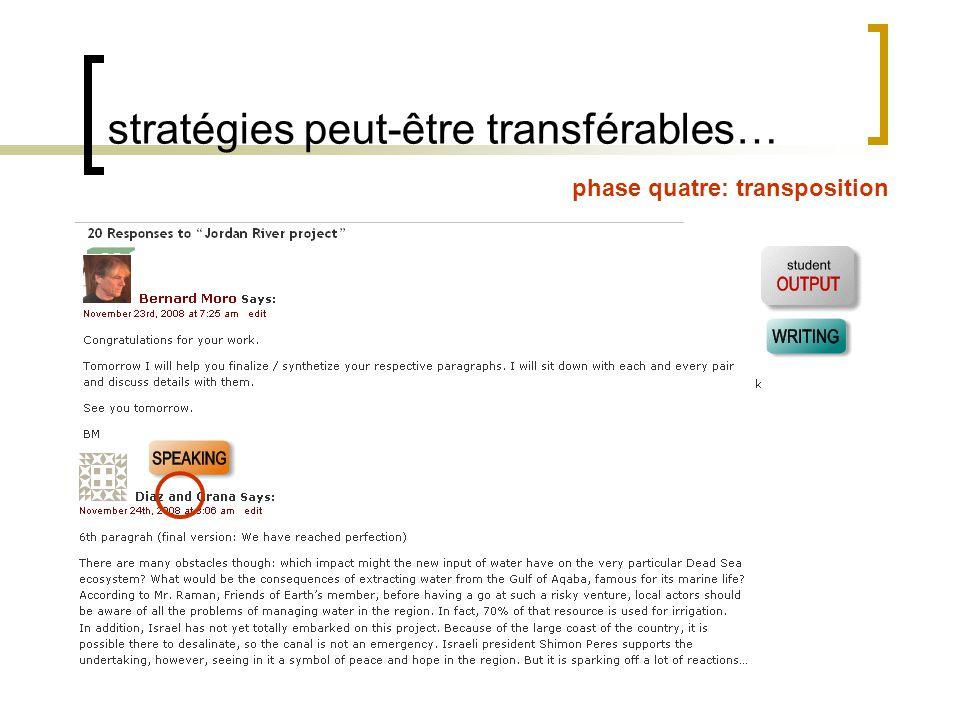 stratégies peut-être transférables… phase quatre: transposition