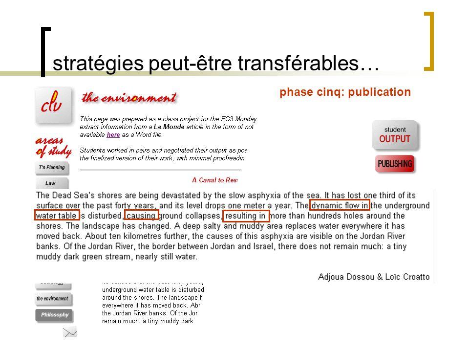 stratégies peut-être transférables… questions…