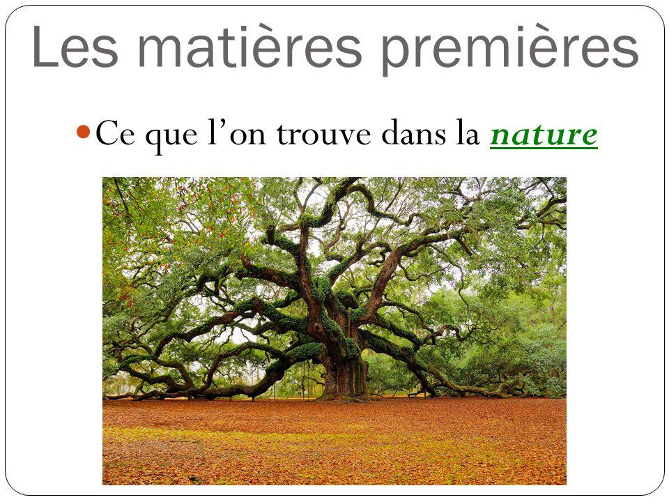 Les matières premières Ce que lon trouve dans la nature