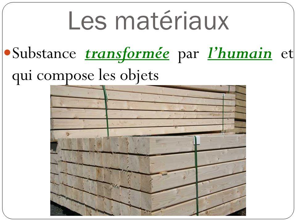 Les matériaux Substance transformée par lhumain et qui compose les objets