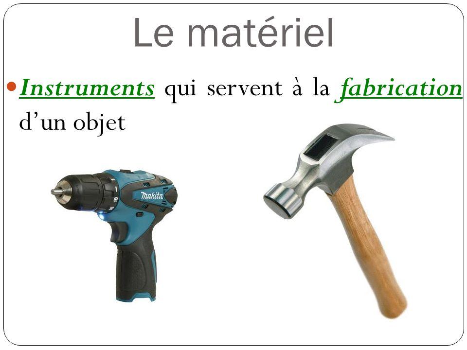 Le matériel Instruments qui servent à la fabrication dun objet