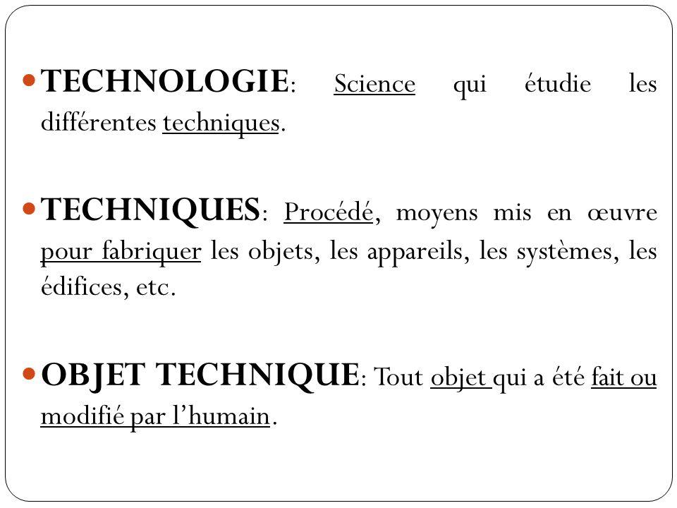 TECHNOLOGIE : Science qui étudie les différentes techniques.