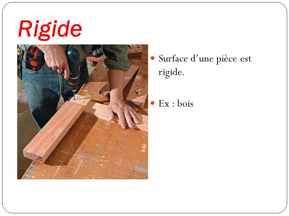 Rigide Surface dune pièce est rigide. Ex : bois