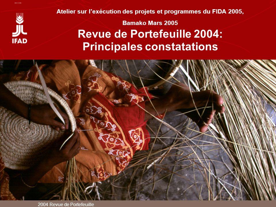 2004 Revue de Portefeuille Atelier sur lexécution des projets et programmes du FIDA 2005, Bamako Mars 2005 Revue de Portefeuille 2004: Principales con