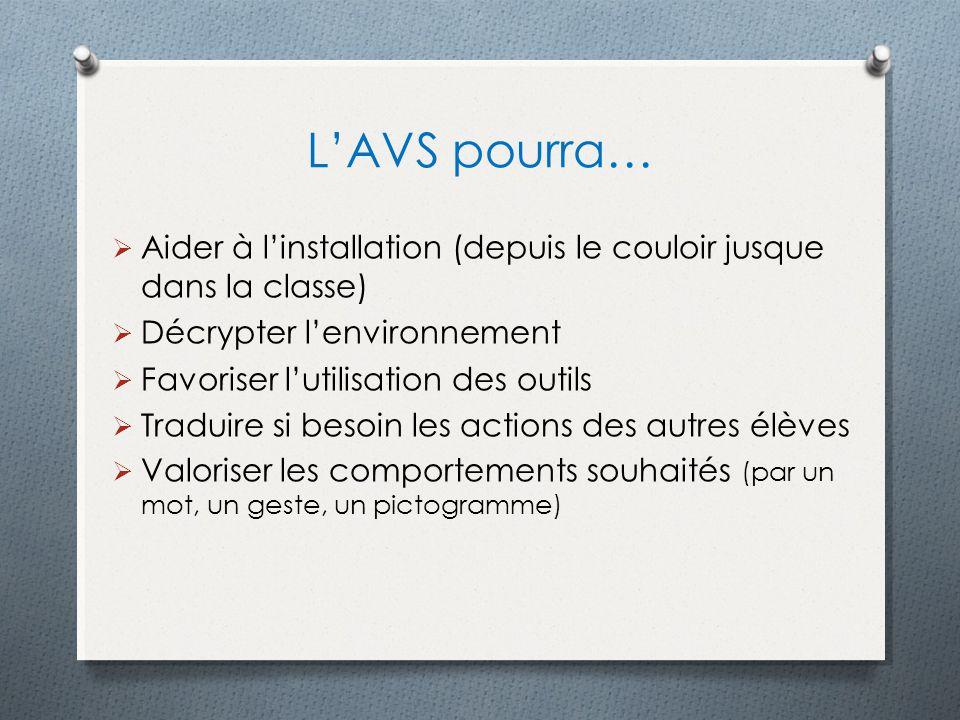 LAVS pourra… Aider à linstallation (depuis le couloir jusque dans la classe) Décrypter lenvironnement Favoriser lutilisation des outils Traduire si be
