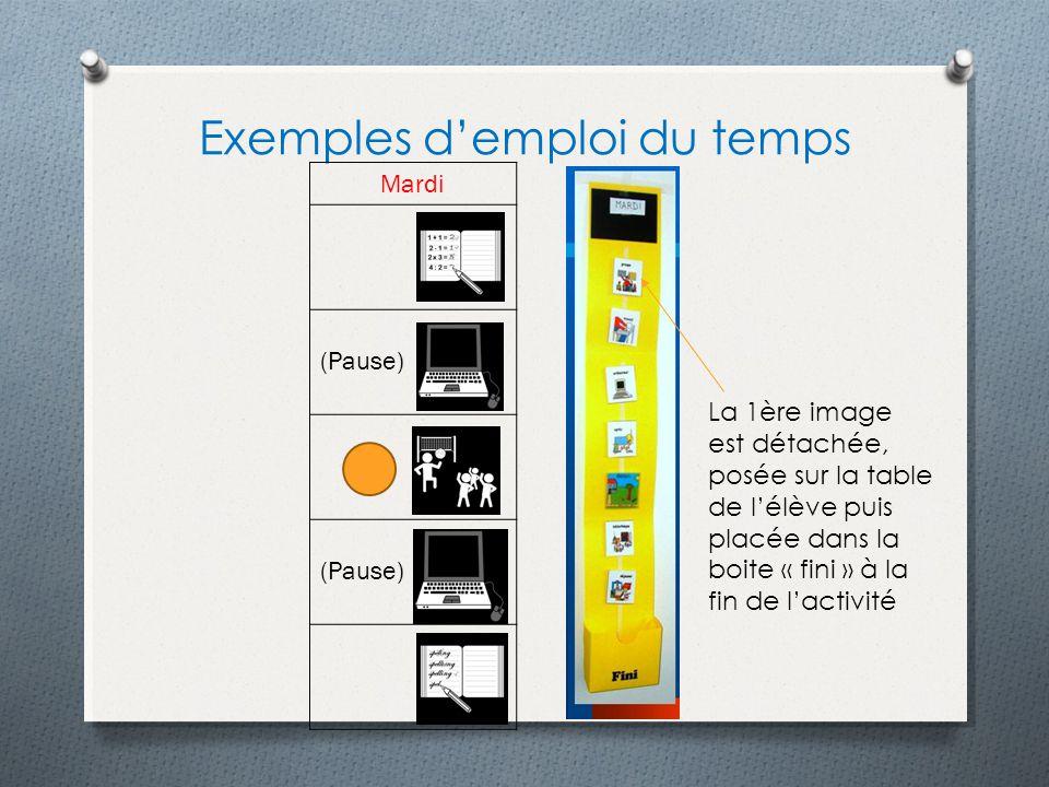 Exemples demploi du temps Mardi (Pause) La 1ère image est détachée, posée sur la table de lélève puis placée dans la boite « fini » à la fin de lactivité