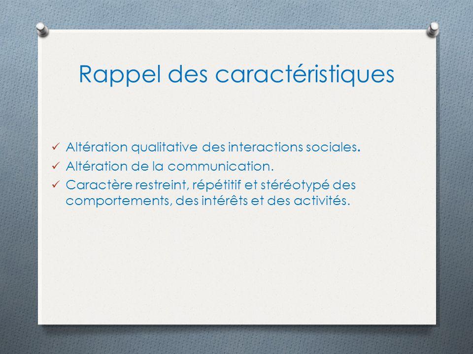 Rappel des caractéristiques Altération qualitative des interactions sociales. Altération de la communication. Caractère restreint, répétitif et stéréo