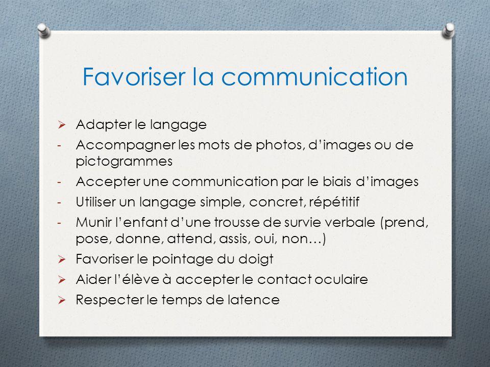 Favoriser la communication Adapter le langage - Accompagner les mots de photos, dimages ou de pictogrammes - Accepter une communication par le biais d