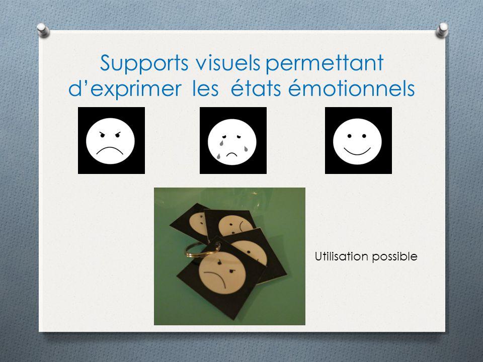Supports visuels permettant dexprimer les états émotionnels Utilisation possible