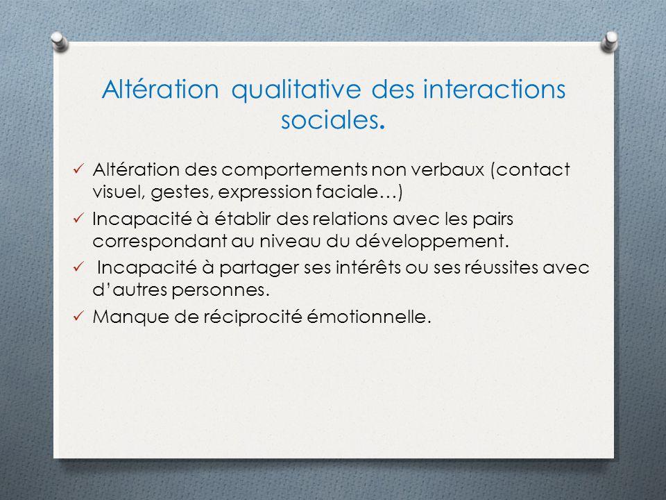 Altération qualitative des interactions sociales. Altération des comportements non verbaux (contact visuel, gestes, expression faciale…) Incapacité à