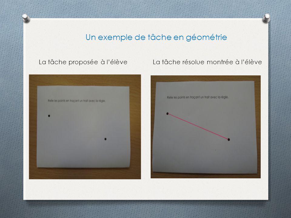 La tâche proposée à lélèveLa tâche résolue montrée à lélève Un exemple de tâche en géométrie